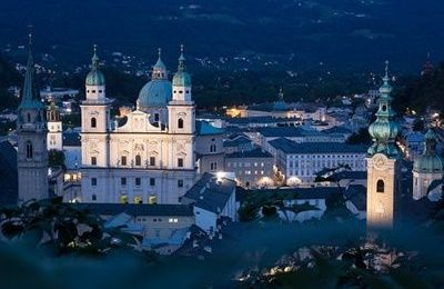 Salzburg historic centre aerial view
